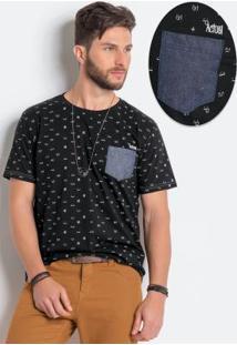 Camiseta Preta Em Algodão Com Estampa
