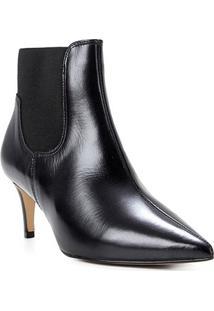 Bota Couro Shoestock Cano Curto Elástico Feminina - Feminino