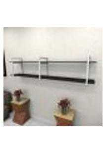 Estante Estilo Industrial Sala Aço Cor Branco 180X30X40Cm (C)X(L)X(A) Cor Mdf Preto Modelo Ind39Psl
