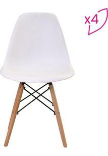 Conjunto De Cadeiras Eiffel Sem Braço- Branca & Marrom Crivatti