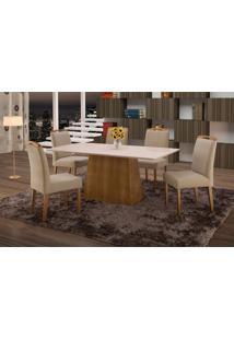 Conjunto De Mesa De Jantar Com 6 Cadeiras E Tampo De Madeira Maciça Turquia I Suede Marrom Médio E Off White