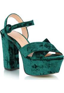 9e4874a952 Luiza Barcelos. Sandália Verde Com Salto Alto Luiza Barcelos Conforto  Veludo Fivela Meia Pata Em