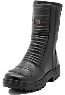Bota Cano Alto Motoqueiro Militar Atron Shoes Moderno Preto