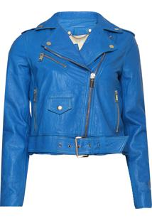 Jaqueta Michael Kors Leather Moto Azul