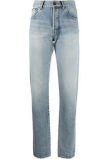Saint Laurent Calça Jeans Reta Cintura Alta - Azul