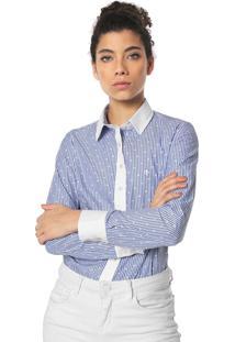 8bde6a238a ... Camisa Dudalina Listrada Branca Azul
