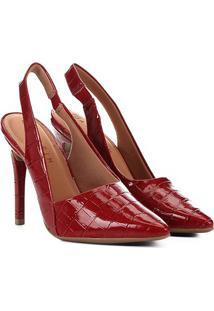 Scarpin Ramarim Salto Alto Croco Bico Fino Chanel Verniz - Feminino-Vermelho