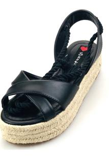 Salomé Espadrille Love Shoes Anabela Plataforma Corda Amarrar Preta