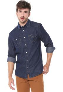Camisa Jeans Wrangler Reta Pespontos Azul-Marinho