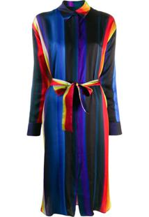 Ps Paul Smith Chemise De Cetim Com Listras - Azul