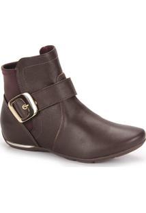 Ankle Boots Conforto Feminina Comfortflex - Marrom
