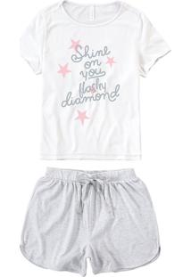 Pijama Curto Malha & Botonê Malwee Liberta