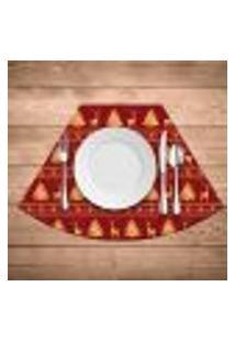 Jogo Americano Para Mesa Redonda Wevans Premium Vermelho Kit Com 6 Pçs