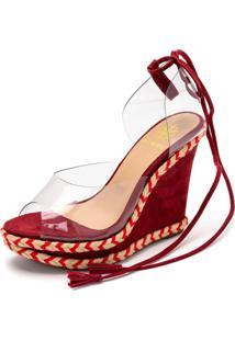 Sandalia Espadrille Anabela Em Nobucado Vermelho Com Transparencia - Tricae