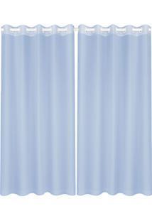Cortina Lava Fácil Voil Duo 2,80X1,80M – Marka Têxtil - Azul