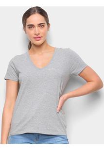Blusa Calvin Klein Slim Logo Gola V Feminina - Feminino-Mescla
