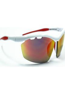 Óculos De Sol Jf Sun Ósmio-Branco-Vermelho Espelhado - Kanui