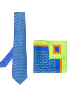 Etro Conjunto Com Gravata E Lenço De Bolso Estampados - Azul