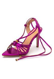 Sandália Feminina Salto Alto Em Pink Metalizado Lançamento