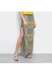 Saia Top Modas Longa Estampada Fenda - Feminino-Amarelo