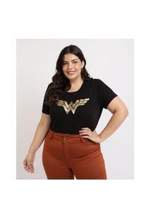 Blusa Feminina Plus Size Mulher Maravilha Manga Curta Decote Redondo Preta