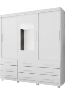 Guarda Roupa Ascoli 3 Pts C/Espelho E 9 Gav. Branco Móveis Lanza - Tricae