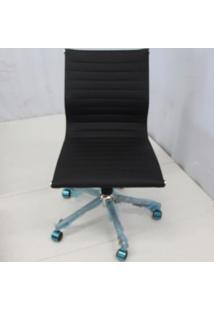 Cadeira Office Outlet Estofada Baixa Preta Sem Bracos Cromada - 10 - Sun House