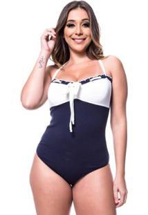 Body Tricot Rarah Cordão - Feminino-Azul