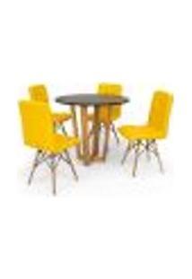 Conjunto Mesa De Jantar Lara 90Cm Preta Com 4 Cadeiras Eiffel Gomos - Amarela