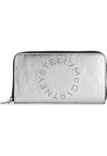 Stella Mccartney Carteira Com Zíper E Logo - Prateado