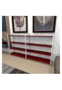 Aparador Industrial Aço Cor Branco 180X30X98Cm (C)X(L)X(A) Cor Mdf Vermelho Modelo Ind55Vrapr