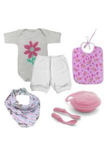 Acessórios De Bebê Kit Enxoval 7 Pçs Body Babador E Pratinho Rosa