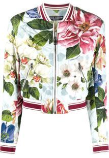 Dolce & Gabbana Floral Print Bomber Jacket - Azul