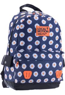 Mochila Floral- Azul & Laranja- 44X32X18Cm- Mc Qmc Queen