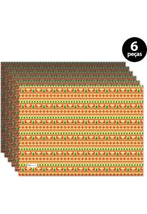 Jogo Americano Mdecore Natal Renas 40X28 Cm Amarelo 6Pçs