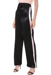Calça Calvin Klein Pantalona Listras Preta