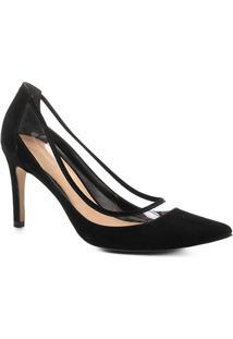 Scarpin Couro Shoestock Salto Alto Vinil - Feminino-Preto