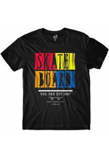 Camiseta Long Beach New York Skate Sublimada Masculina - Masculino-Preto