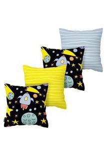 Kit Com 4 Capas Para Almofadas Infantis Espaço Armonizzi