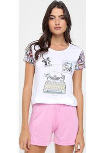 Pijama Victory Short Doll Estampa Pets Curto Feminino - Feminino
