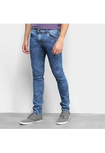 Calça Jeans Coffee Slim Fit Pesponto Masculina - Masculino-Azul Escuro