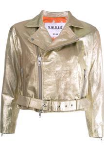 S.W.O.R.D 6.6.44 Cropped Biker Jacket - Dourado