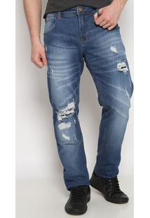 Jeans Igor Skinny Com Bolsos & Destroyed- Azul- Foruforum