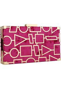 Clutch Social Artestore Bolsa Carteira De Festa Dourada Com Aveludado Pink