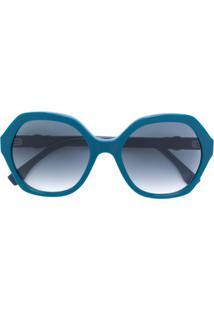 Fendi Eyewear Óculos De Sol Oversized - Azul