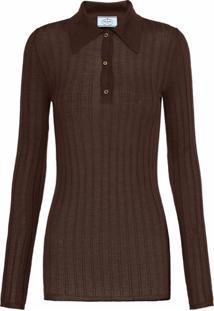 Prada Camisa Polo Canelada - Marrom
