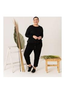 Calça Reta Lisa Em Moletinho Comfy Curve & Plus Size | Ashua Curve E Plus Size | Preto | Gg
