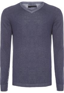 Suéter Masculino Gola V - Azul