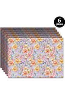Jogo Americano Mdecore Floral 40X28 Cm Roxo 6Pçs