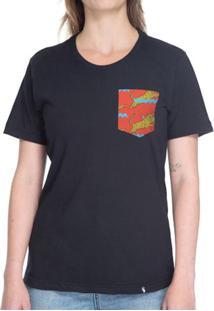 Tigre, Traço Azul, Fundo Vermelho - Camiseta Clássica Com Bolso